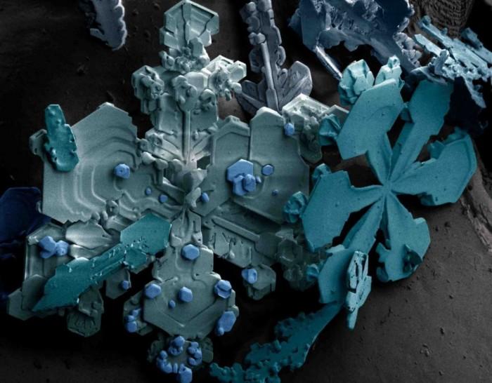 sneeuw gezien onder een microscoop