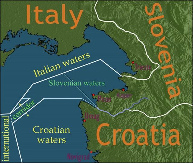 Slovenië tussen Italië en Croatië