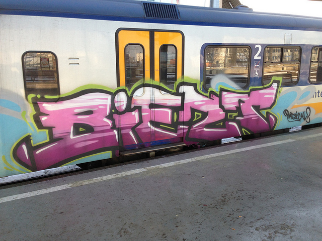 Biert graffiti op NS treinen