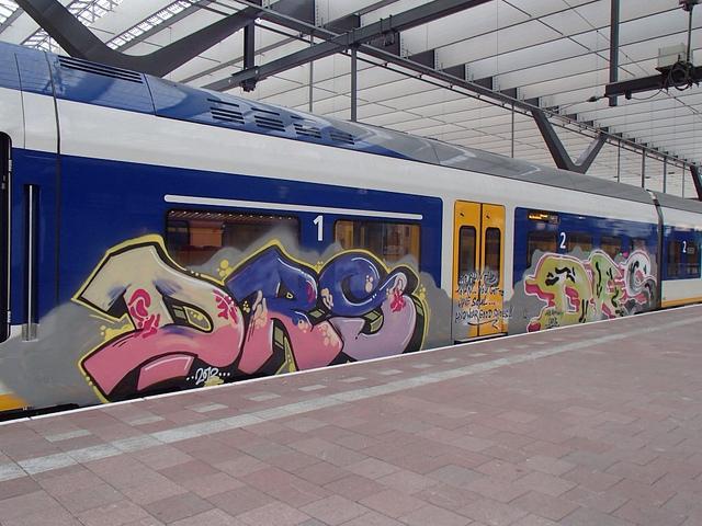 DRS Graffiti op trein van de Nederlandse Spoorwegen