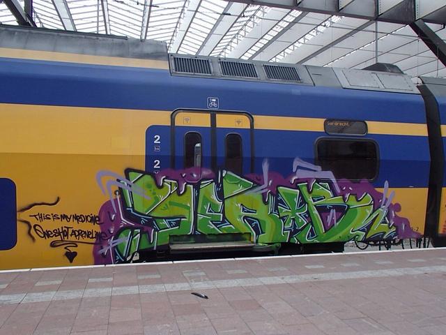 Groene graffiti Ns treinen