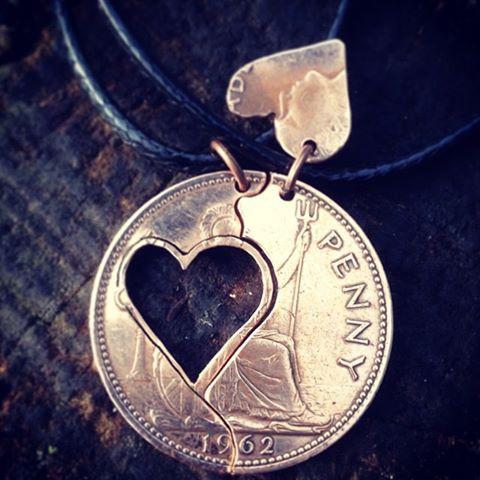 Hart in hart munten hanger