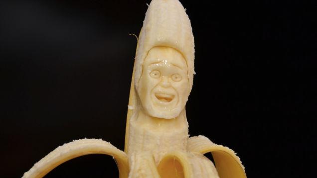 Kunstwerk gemaakt van bananen
