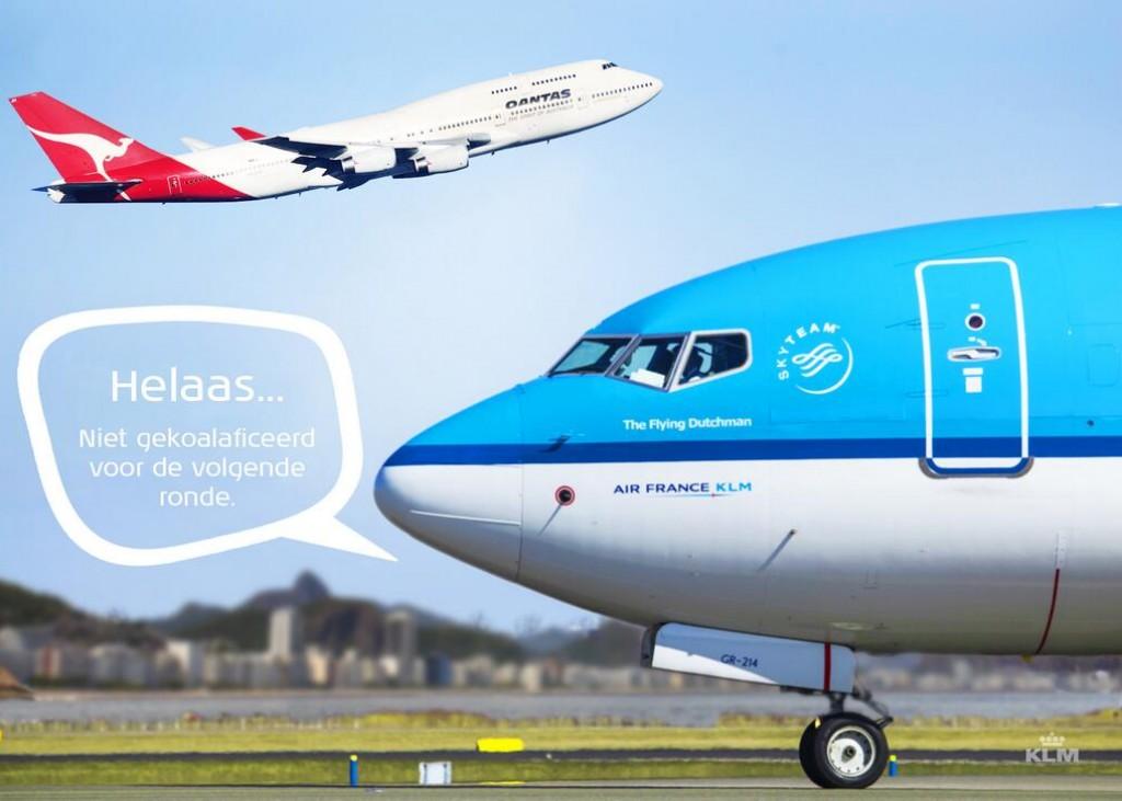 KLM tweet: Nederland vs. Australië, niet gekoalaficeerd