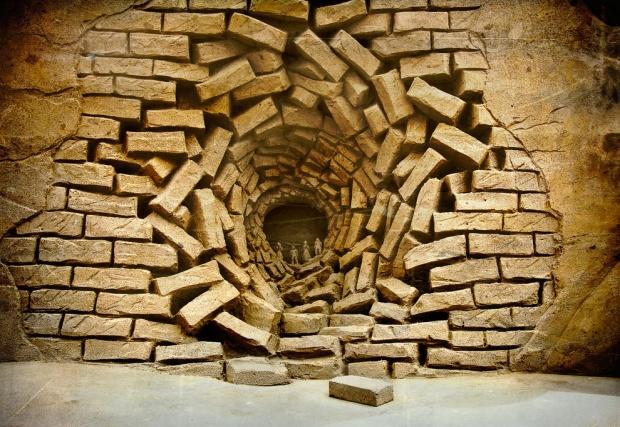 Ingestortte muur
