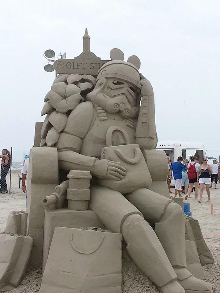 Storm trooper sand sculpture